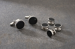 SCROLL EDGE BLACK IN SILVER SETTING STUDS & CUFFLINKS SET