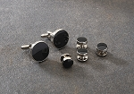 CONCENTRIC CIRCLES BLACK IN SILVER SETTING STUDS & CUFFLINKS SET