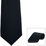 BLACK POPLIN 4 IN HAND LONG TIE
