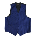 NAVY PAISLEY VEST TIE HANKIE AND BOW COMBO - SLIM FIT