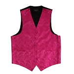 """AMANTI PAISLEY"" SLIM FIT MEN'S FUSHIA TUXEDO VEST SET"