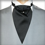 TRADITIONAL BLACK ASCOT TIE - PRE TIED