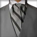 TRADITIONAL SILVER WITH BLACK STRIPE ASCOT TIE - PRE-TIED