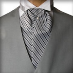 TRADITIONAL DAYTIME REPP STRIPE ASCOT TIE - PRE-TIED