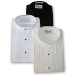 CLASSIX IVORY PLEATED BAND COLLAR TUXEDO SHIRT - CLOSEOUT
