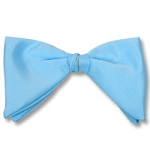 """CLASSIC SATIN"" TEARDROP CLIP-ON LIGHT BLUE BOW TIE"
