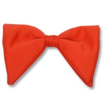 ORANGE CLASSIC POLY SATIN TEAR DROP CLIP ON BOW TIE