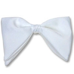 """CLASSIC SATIN"" TEARDROP CLIP-ON WHITE BOW TIE"