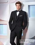 IKE BEHAR ADJUSTABLE SLIM FIT MEN'S BLACK TUXEDO PANTS - FLAT FRONT