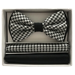 BRAND Q TWO TONE HOUNDSTOOTH BOW TIE & POCKET HANKIE SET - WHITE