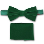 KELLY GREEN BRAND Q VELVET BOW TIE & POCKET SQUARE / HANKIE SET