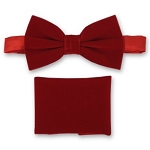 RED BRAND Q VELVET BOW TIE & POCKET SQUARE / HANKIE SET
