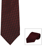 """DIAMOND LEAF"" BURGUNDY LONG TIE"