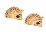 CASINO CARDS GOLD TONE CUFF LINK SET