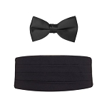 NEIL ALLYN BIG & TALL BLACK CUMMERBUND & BOW TIE SET