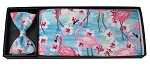 FLAMINGO & FLOWERS CUMMERBUND AND BOW TIE SET