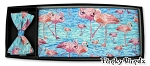 FLAMINGO POOL CUMMERBUND & BOW TIE SET