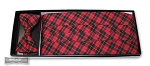 RED TRADITIONAL TARTAN PLAID CUMMERBUND & BOW TIE SET