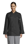 CLASSIC BLACK CHEF COAT W/ 10 PEARL BUTTONS