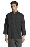CLASSIC BLACK CHEF COAT W/ 10 KNOT BUTTONS