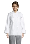 WHITE CLASSIC CHEF COAT W/ 10 KNOT BUTTONS