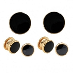 "NEIL ALLYN ""CLASSIC"" BLACK IN GOLD SETTING STUDS & CUFFLINKS SET"
