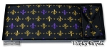 BLACK/PURPLE/GOLD FLEUR DE LIS CUMMERBUND & BOW TIE SET