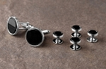 IKE BEHAR BLACK ONYX STUDS AND CUFFLINKS SET
