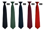 SEGAL POPLIN SECURITY CLIP-ON STRAIGHT TIE - ASSORTED COLORS