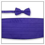 PREMIER SATIN CUMMERBUND & BOW TIE SET - DARK PURPLE