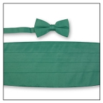 PREMIER SATIN CUMMERBUND & BOW TIE SET - EMERALD GREEN