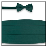 PREMIER SATIN CUMMERBUND & BOW TIE SET - FOREST GREEN