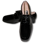 FEDERICO LEONE BLACK PALERMO PATENT LEATHER MOCH FORMAL SHOES - CLOSEOUT