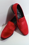 COUTURE 1910 RED VELVET SLIP ON FORMAL SHOES W/ SATIN BAND