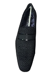 COUTURE 1910 BLACK CHEVRON SLIP ON FORMAL SHOES W/ BAND