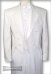 AFTER SIX WHITE POLYESTER NOTCH FULL DRESS TAIL JACKET - CLOSEOUT