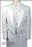 LORD WEST WHITE POLYESTER NOTCH FULL DRESS TAIL JACKET - CLOSEOUT