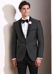 COUTURE 1910 BLACK PIN DOT SHAWL LAPEL TUXEDO JACKET - MEN'S
