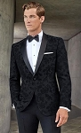 COUTURE 1910 BLACK FLORAL SHAWL TUXEDO JACKET - MEN'S