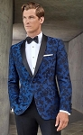 COUTURE 1910 COBALT BLUE FLORAL SHAWL TUXEDO JACKET - MEN'S