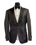 COUTURE 1910 NAVY PARTRIDGE PRINT TUXEDO JACKET - SLIM FIT