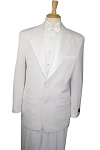 BUDGET WHITE 2 BUTTON NOTCH LAPEL TUXEDO JACKET & PANTS SET - MEN'S CLOSEOUT