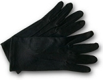 BLACK HEAVYWEIGHT STRETCH NYLON GLOVES W/ SNAP WRISTS (PAIR)