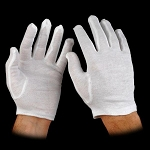 WHITE COTTON CATERING GLOVES (12 PAIRS)