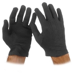 BLACK COTTON GLOVES (12 PAIRS)
