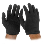 BLACK COTTON GLOVES W/ SUREGRIP (12 PAIRS)