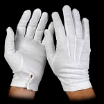 WHITE COTTON GLOVES W/ SNAP WRISTS (12 PAIRS)