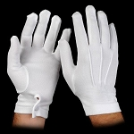WHITE HEAVYWEIGHT STRETCH NYLON GLOVES W/ SNAP WRISTS (12 PAIRS)