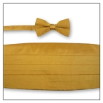 PREMIER SATIN CUMMERBUND & BOW TIE SET - GOLD