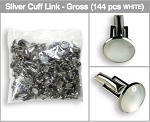 GROSS (144 PIECES) BAG OF CUFFLINKS - WHITE & SILVER TONE